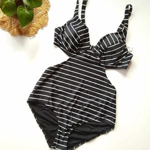 Old Navy • black striped cut-out bathing suit